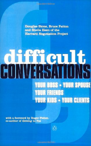 Important lesson: The cover of the book Difficult Conversations, by Douglas Stone, Sheila Heen and Bruce Patton. One of the lessons in the book is that everyone has different versions of the same story coloured by their experiences.